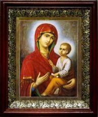 Тихвинская икона Божьей Матери (19х22), темный киот