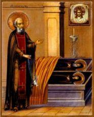 Сергий Радонежский у гроба родителей (рукописная икона)