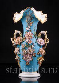 Голубая ваза с цветами, Франция, кон.19 в