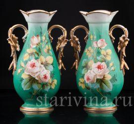 Парные зеленые вазы, Франция, кон.19 в