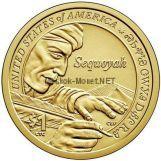 1 доллар США 2017 год - в память о вкладе Секвойя, изобретателя азбуки Cherokee
