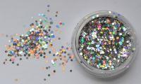 Шестиугольники для дизайна ногтей, серебро голограмма