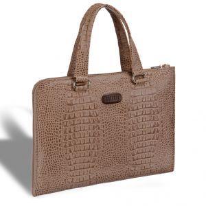 Женская деловая сумка BRIALDI Aisa (Аиса) croco cappuccino