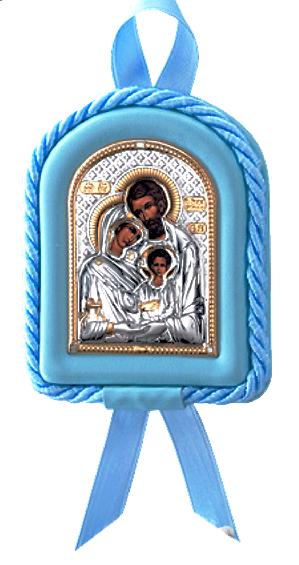 Серебряная икона Святое Семейство в колыбельку (7,5*11см., гальванопластика, Италия) в подарочной упаковке