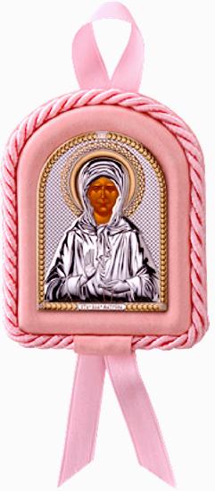 Икона Святая Матрона в колыбельку новорожденному ребенку (7,5*11см., Италия) в подарочной упаковке