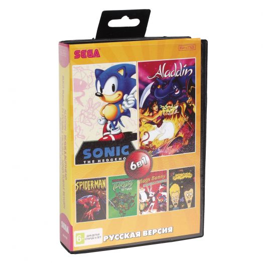 Sega картридж 6в1 (AA-6101) ALADDIN/ SPIDER-MAN/ BUGS BUNNY/ SONIC+..