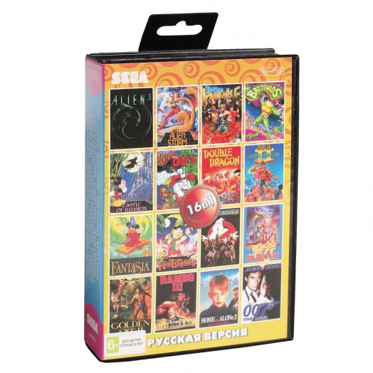 Sega картридж 16в1 (AA-1601) ALIEN 3/ BARE RNUCKLE/ BATTLE TOADS/ GOLDEN AXE1, 2 +