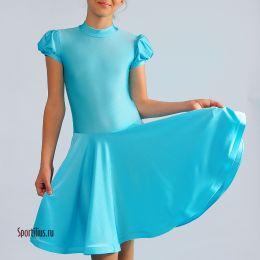 Детское платье для бальных танцев, бирюзовое