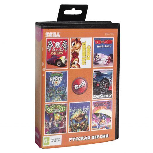 Sega картридж 8в1 (AB-8002) TMHT/SONIC 2/ROCK N'ROLL RAСING/DUNE+..