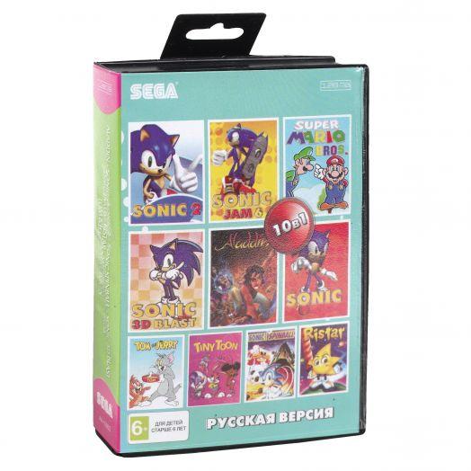 Sega картридж 10в1 (AA-10002) ALADDIN/ SONIC1,2,3D,JAM 6/ TOM & JERRY/ TINY TOON+..