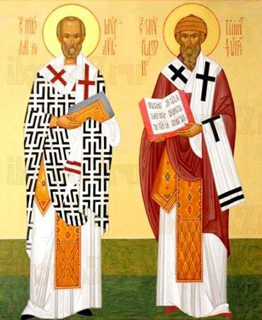 Николай Чудотворец и Спиридон Тримифунтский (рукописная икона)
