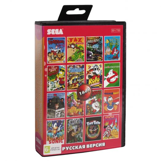 Sega картридж 16в1 (AB-16001) ARIEL /TALE SPIN  /FLINTSTONES/DIZZY  /FANT