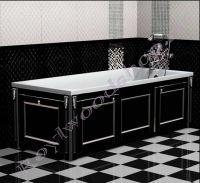 """Экран для ванны """"Руссильон PROVENCE раздвижной, черный с серебром"""" с торцевой дверкой"""