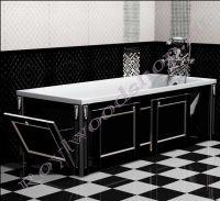 """Экран для ванны """"Руссильон PROVENCE раздвижной, черный с серебром"""" 150/170 см с торцевой дверкой"""