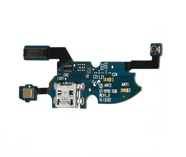Шлейф с разъемом зарядки для Samsung Galaxy S4 Mini i9190, i9192, i9195 + микрофон + нижняя плата (копия AAA)