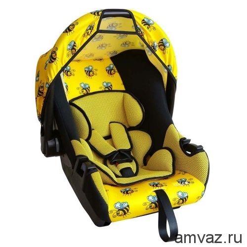 """Детское автомобильное кресло SIGER ART """"Эгида ЛЮКС"""" пчелка, 0-1,5 лет, 0-13 кг, группа 0+"""