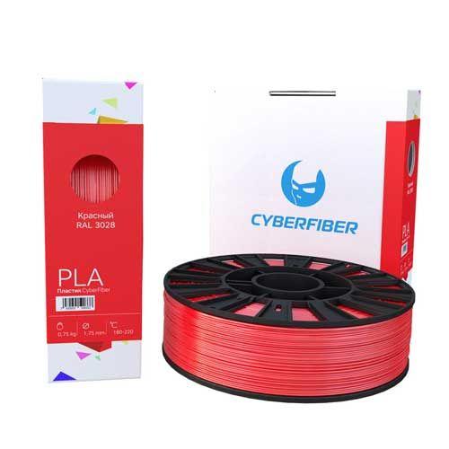 PLA пластик CyberFiber, 1,75мм, красный, 750гр
