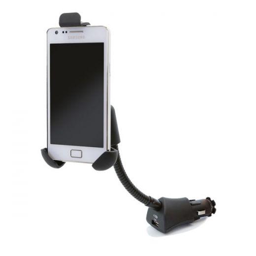 Держатель CARLINE® для телефона/навигатора в прикуриватель на длинной штанге с зарядкой USB