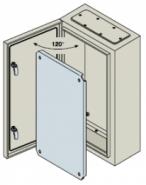 Шкаф ABB SR с монтажной панелью 400х300х150 серый IP65 с металлической дверью