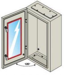 Шкаф ABB SR с монтажной панелью 700х500х250 серый IP65 со стеклянной дверью