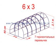 Теплица Кремлевская Оптима Люкс 3 х 6 с поликарбонатом Polygal Колибри 4 мм