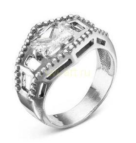 Посеребренное с чернением кольцо с фианитом (арт. 788011)
