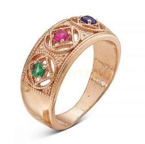 Позолоченное кольцо с искусственной шпинелью и корундом (арт. 788013)