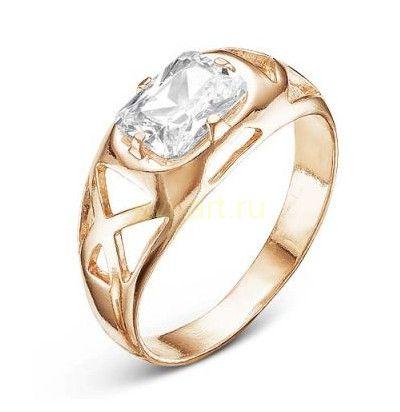 Позолоченное кольцо с фианитом (арт. 788015)