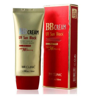 Солнцезащитный ВВ крем для лица с УФ защитой SPF50+PA+++ / BB Cream UV Sun Block 3W Clinic