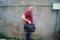BUFALO LB02 BLACK чёрный кожаный портфель