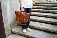 BUFALO LB02 CAMEL рыжий кожаный портфель