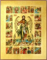 Иоанн Предтеча Ангел Пустыни с житием (рукописная икона)
