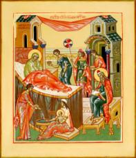 Рождество Иоанна Предтечи (рукописная икона)