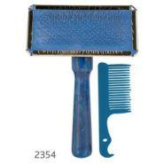 TRIXIE Щетка-пуходерка мягкая с деревянной ручкой + расчёска (13*7 см)