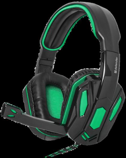 Мониторные наушники с микрофоном Игровая гарнитура Defender Warhead G-275 зеленый + черный (2.5 метра)