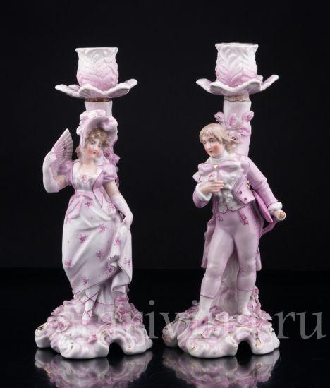 Изображение Подсвечники, Пара в розовом, Sitzendorf, Германия, 19 в