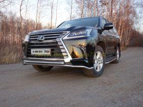 Защита переднего бампера 42х42 мм для Lexus LX 2015 -