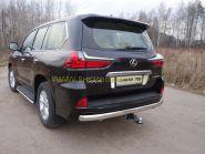 Защита заднего бампера 75х42 мм для Lexus LX 2015-