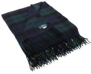 Плед 100 % стопроцентная шотландская овечья шерсть, расцветка Блэк Уотч Черная Стража Британской Империи BLACK WATCH MODERN TARTAN LAMBSWOOL , плотность 6