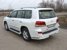 Защита заднего бампера 76х42 мм для Lexus LX 2013-