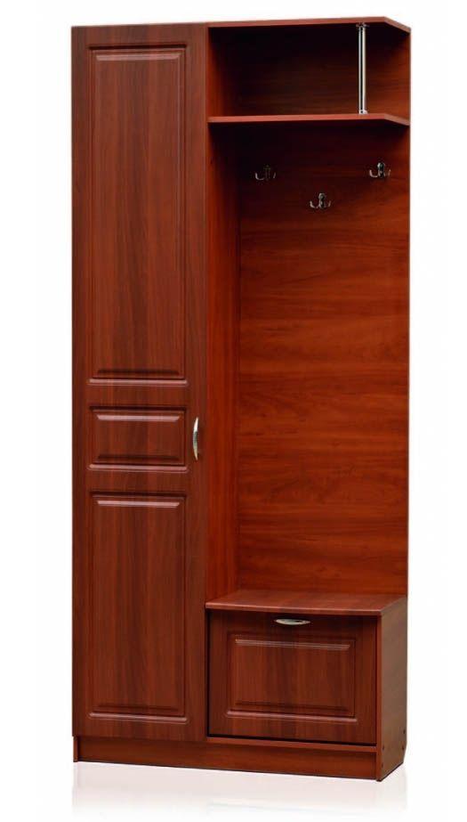 Открытая секция с крючками, тумба под обувь, шкаф со штангой (правый) Модуль 10,Визит