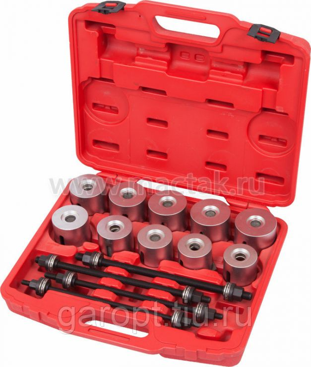 Набор оправок для монтажа и демонтажа сайлентблоков, 34-82 мм, кейс, 24 предмета МАСТАК 110-20024C