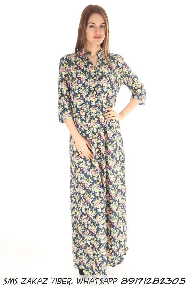 Длинное платье рубашка в цветочек