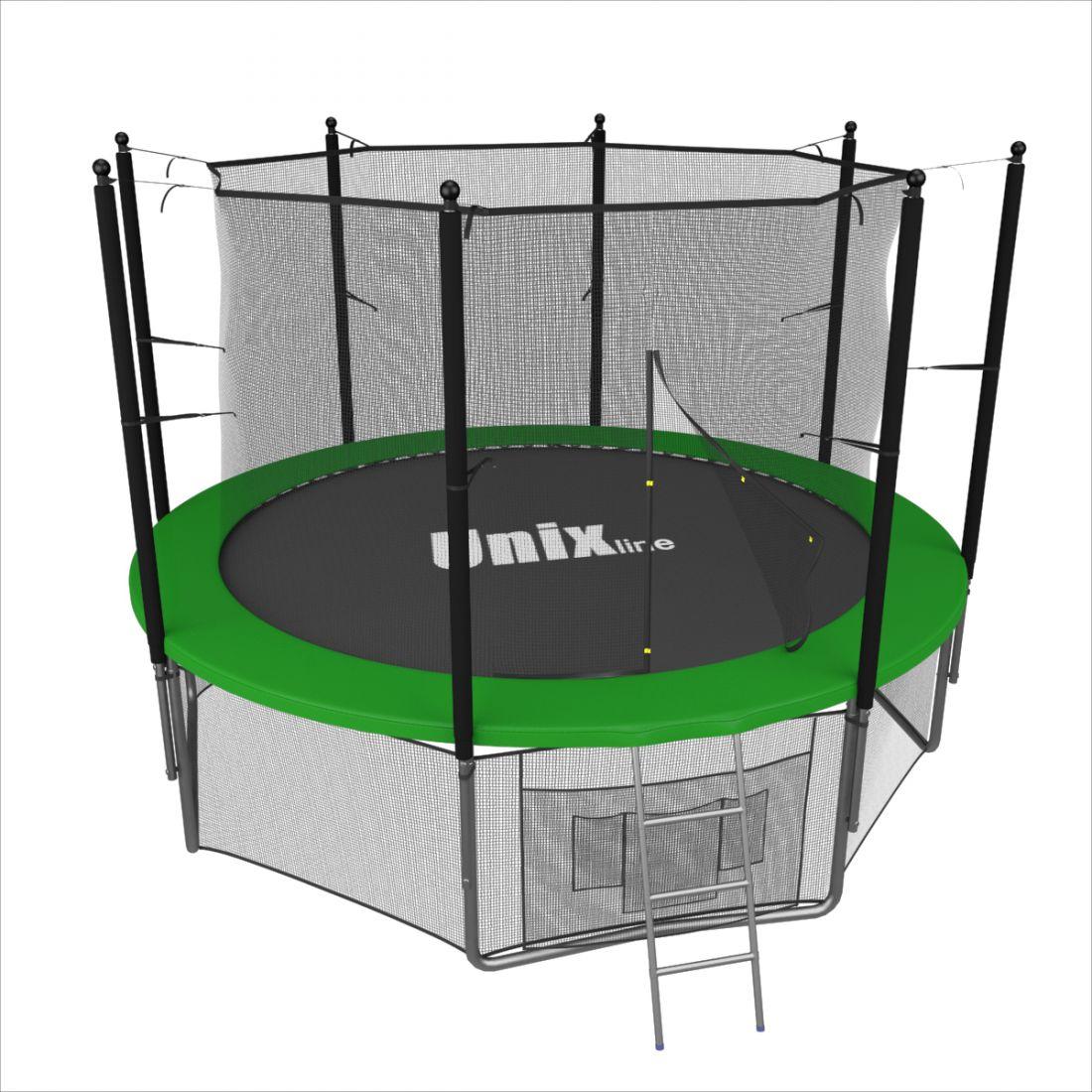 Батут с внутренней защитной сеткой - Unix Line 6FT (1,83м), цвет зеленый