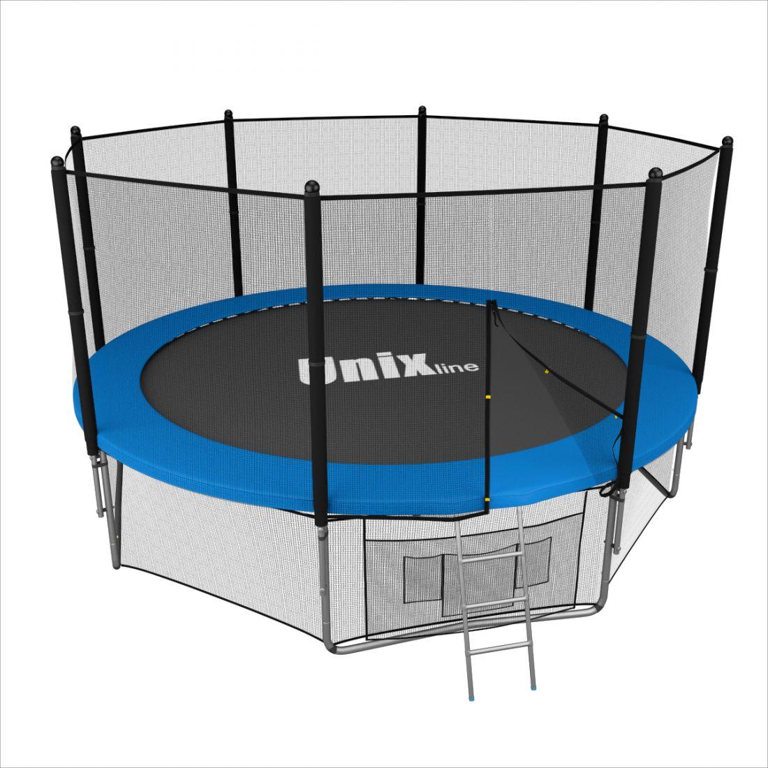 Батут с внешней защитной сеткой - Unix Line 10FT (3,05м), цвет синий