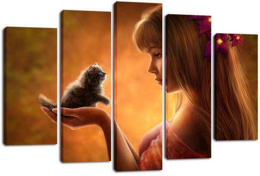 Модульная картина Девушка и котенок