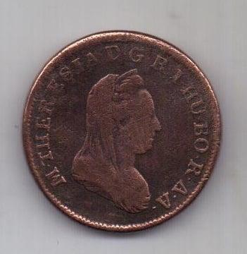 1 крейцер 1780 г. N г. Надбанья . Румыния Австрия