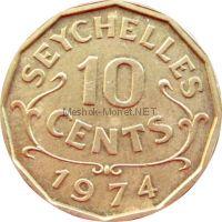 Сейшелы 10 центов 1974 г.