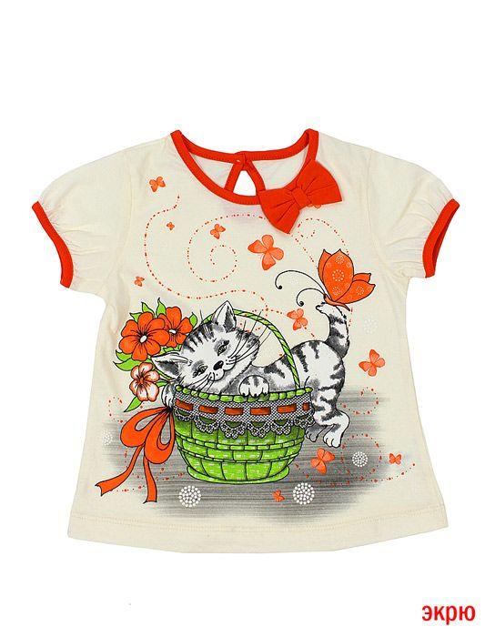 Блуза для девочки Котёнок цвет экрю