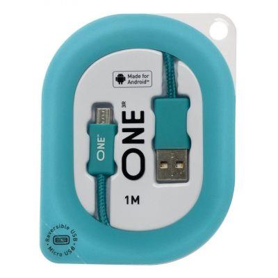 Провод ONE бирюзового цвета для Android (реверсивный USB/Micro-USB)